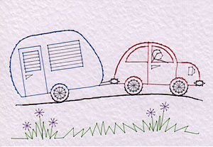 Car towing caravan pattern added at Stitching Cards