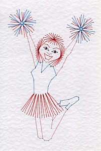 Cheerleader pattern added at Stitching Cards