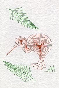 Kiwi bird pattern added at Stitching Cards