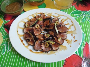 Chili encrusted ahi tuna with piloncillo glaze