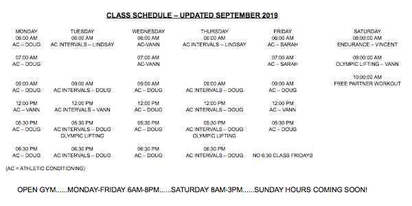 PRIDE CONDITIONING CLASS SCHEDULE