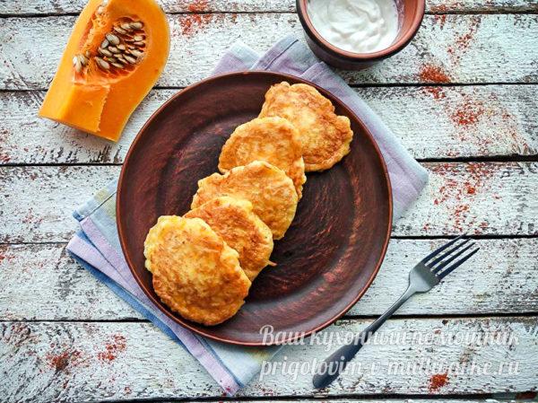 Тыквенные оладьи на кефире пышные - рецепт с фото пошагово