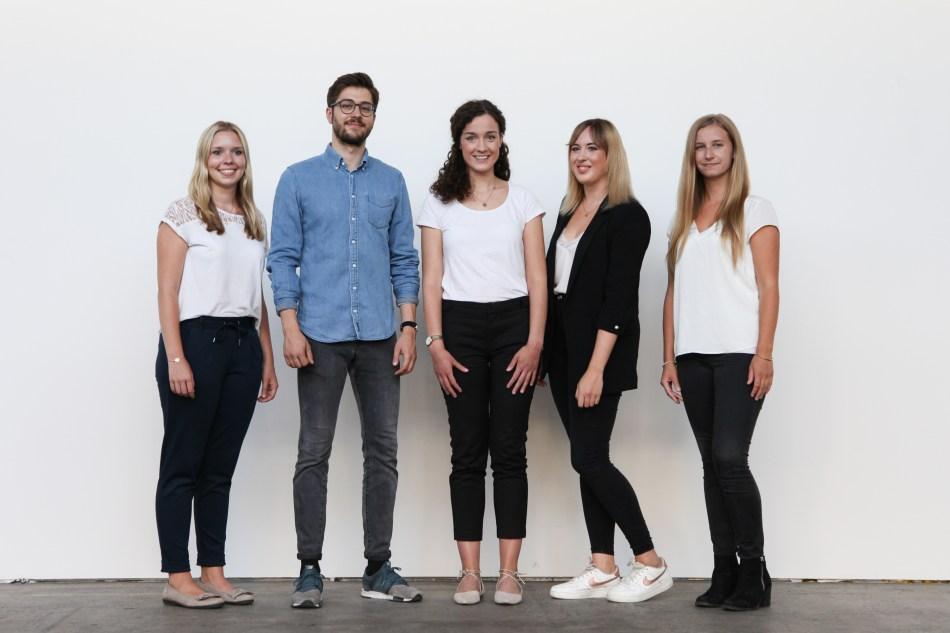 Das Vorstands-Team 2018 - 2019: Karolin Huber, Raphael Jahn, Eleni Schlossnikel, Lisa Gast und Kathrin Schmidtke (v.l.n.r.)