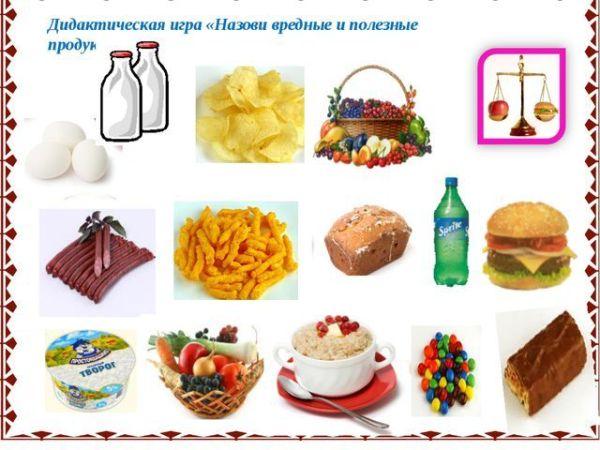 """Картинки для детей: """"Вредные и полезные продукты питания ..."""
