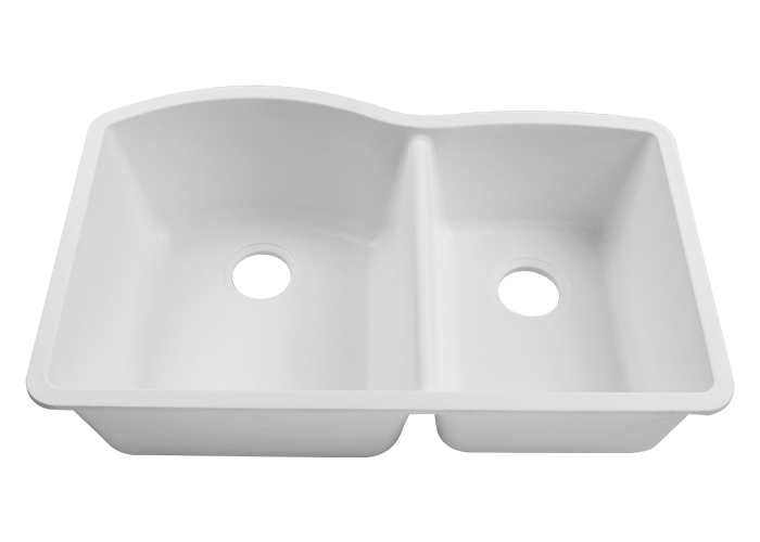 Granite Composite Off Set Bowl 60 40 Undermount Kitchen Sink White Prima Choice Sinks
