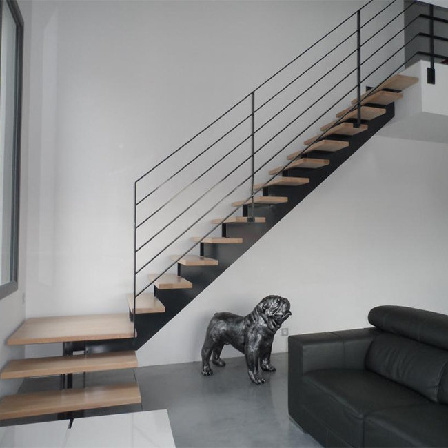 Metal Stairs With Frameless Glass Railing Straight Staircase   Wood Stairs For Sale   Cheap   Trailer   Open Tread   Landing   Wooden