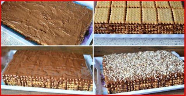 Jednoduchá sušenková buchta s čokoládou a kokosem