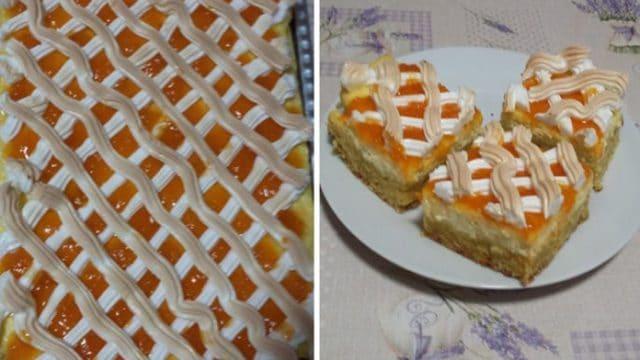 Recept na mřížkovaný koláč s marmeládou a zakysanou smetanou