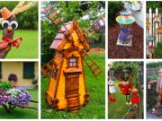 staré květináče, klacíky a kamínky k vytvoření krásných zahradních dekorací