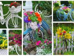 Využijte staré kolo jako dekoraci v zahradě: Stačí přidat košík a oblíbené květiny