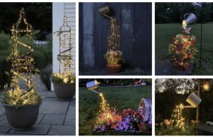 Přidejte do venkovních květináčů obyčejná světýlka