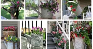 Využijte klasickou plechovou konev jako originální květináč