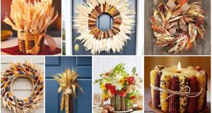 podzimní dekorací ze sušených kukuřičných klasů
