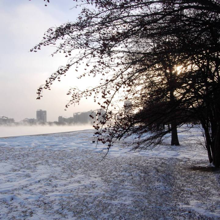 A lakefront park in winter, overlooking a steaming lake, and the Chicago skyline, south of Montrose Harbor