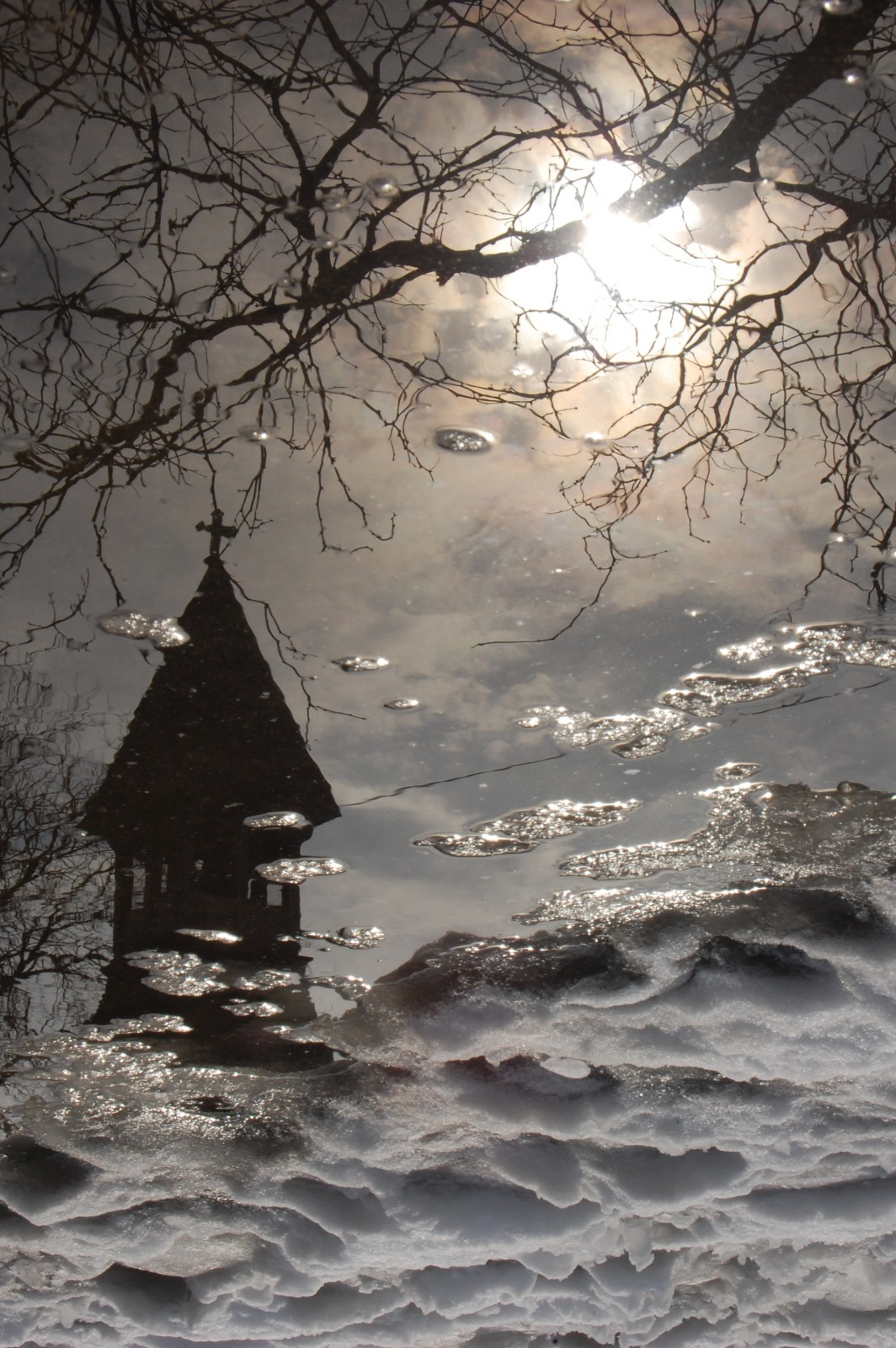 Steeple of All Saints Episcopal Church in Ravenswood neighborhood, reflected in snowmelt.