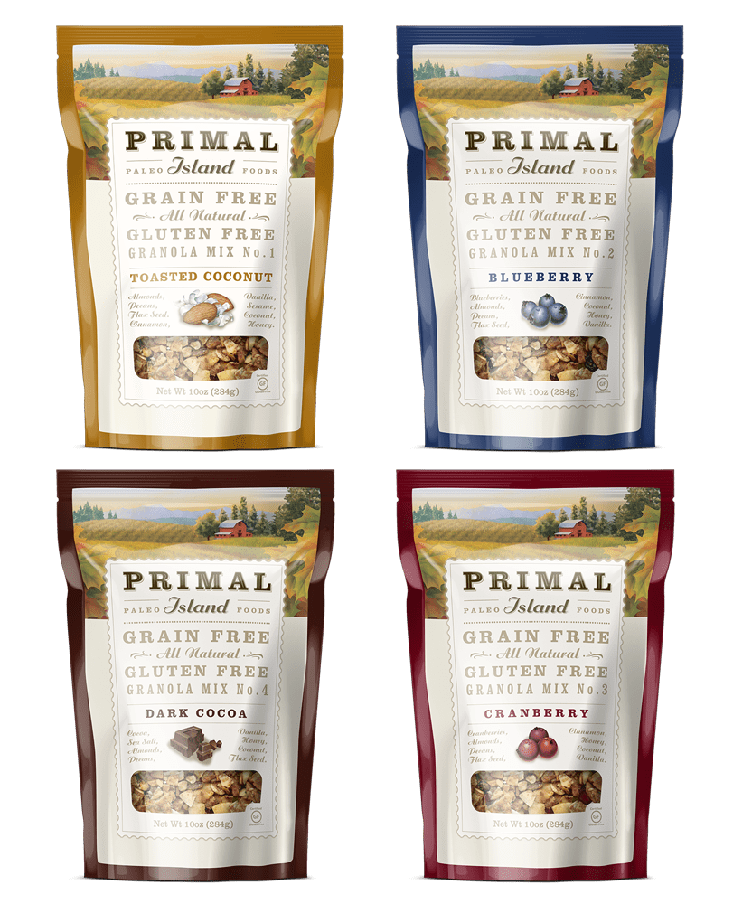 Grid of four bags of primal island granola