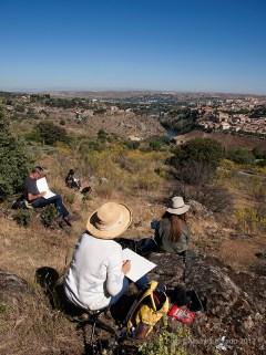 Toledo. Jornada de apuntes al aire libre con el taller de Prima Littera. Vista de la ciudad desde el Parador Nacional de Turismo.