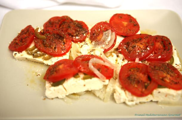 Baked Feta with Tomato and Pepper Bouyiourdi - Primal Mediterranean Gourmet