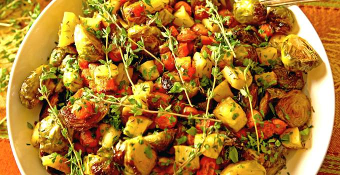 Roasted Brussels Sprouts, Parsnips and Carrots