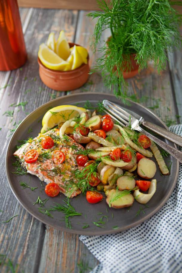 Roasted Salmon with Fennel Tomatoes and Potatoes platted