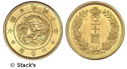 Korean 20 won gold coin minted in 1906