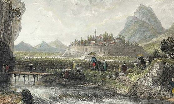 """Illustration (detail) from """"Cotton Plantations in Ning-po"""" by Thomas Allom"""