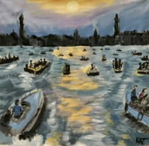 Kathy's painting of a turbulent sea with multiple boats going for the city.