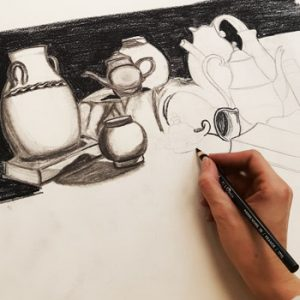Hand sketching pottery