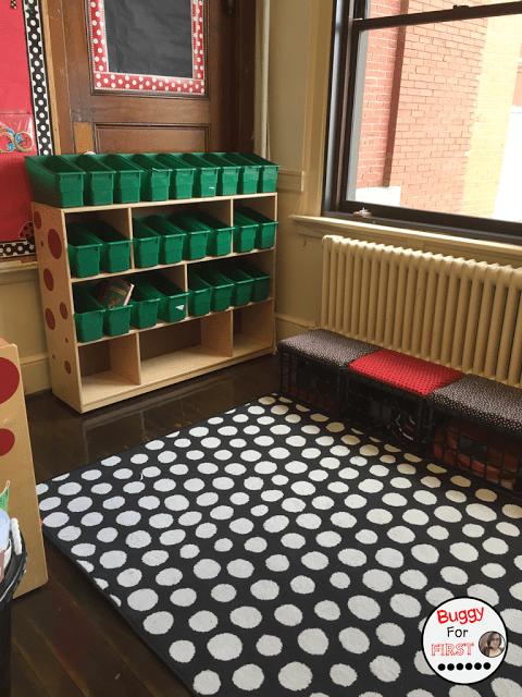 classroom library, book boxes, crate seats, polka dot classroom, buggyforfirst, polka dots, ladybug classroom, first grade, classroom decor, classroom reveal