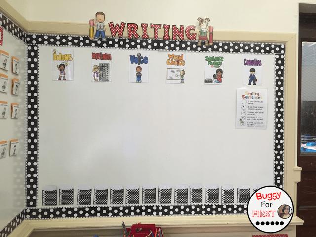 six traits of writing, polka dot classroom, buggyforfirst, polka dots, ladybug classroom, first grade, classroom decor, classroom reveal