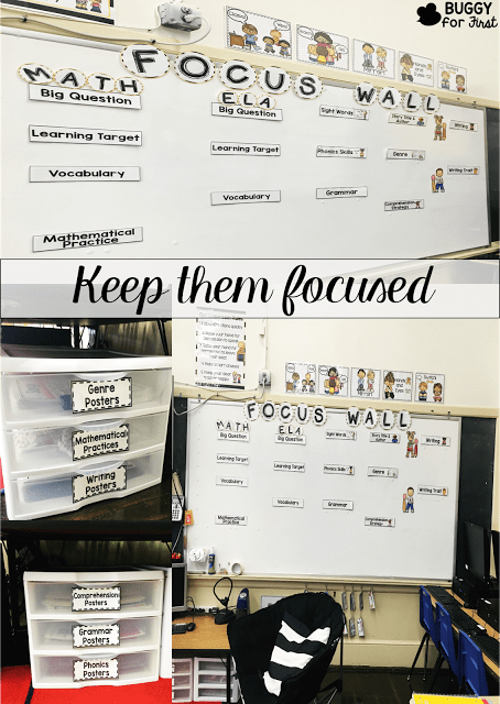 A focus wall is so important to drive daily instruction. It helps to keep the teacher on track and the students always know what is on the schedule for the day and what to look forward to in their learning.