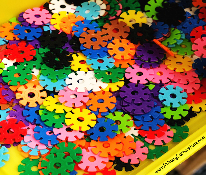 brain flakes connect easily and students love to build with them during stem time