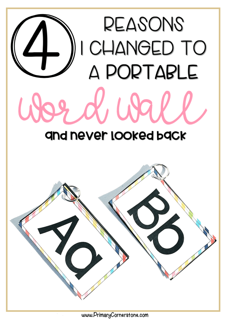 A portable word wall has helped so much. My students are independent and use it a lot during writing centers. It is great for kindergarten and first grade. The template in this particular one is editable so you can add more words and differentiate for the needs of your students. #portablewordwall #wordwall