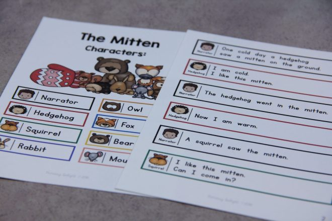 Two pages from a Readers' Theater script of The Mitten. Page one shows the characters and page two is the beginning of the story with only 4-6 words per line.