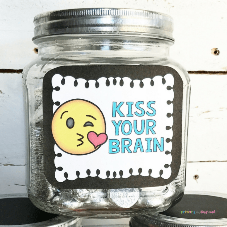 Kiss your brain candy jar label