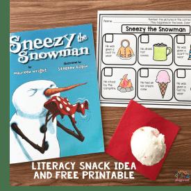 Literacy Snack Idea Snowman + Free Printable