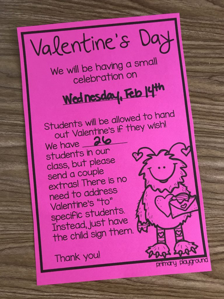 Valentine's Day Class Letter
