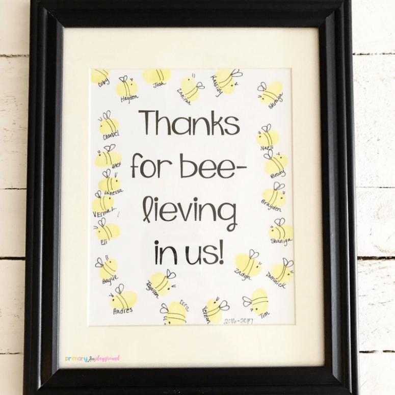 Fingerprint bee teacher appreciation gift idea