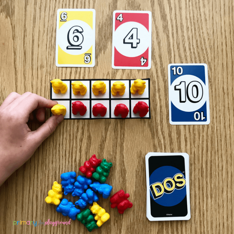 Making ten with ten frame using DOS cards