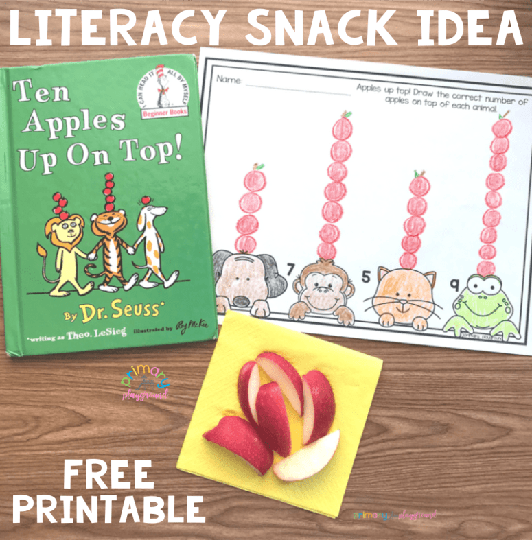 Literacy Snack Idea Apples Up Top