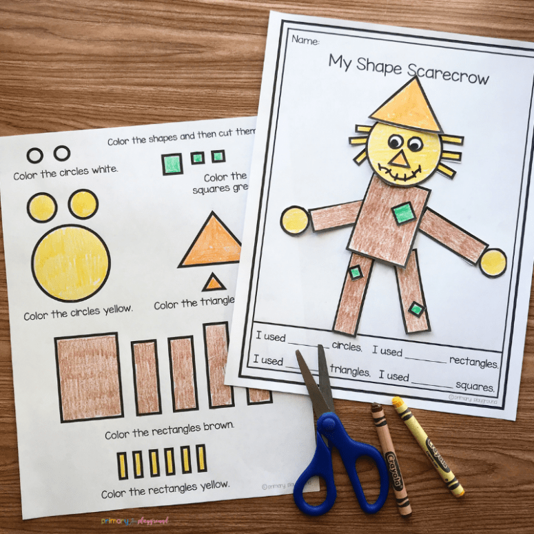 free printable 2D shape scarecrow