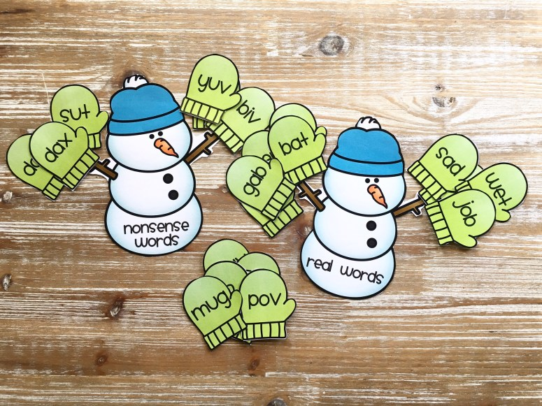 Real and nonsense word sort snowman