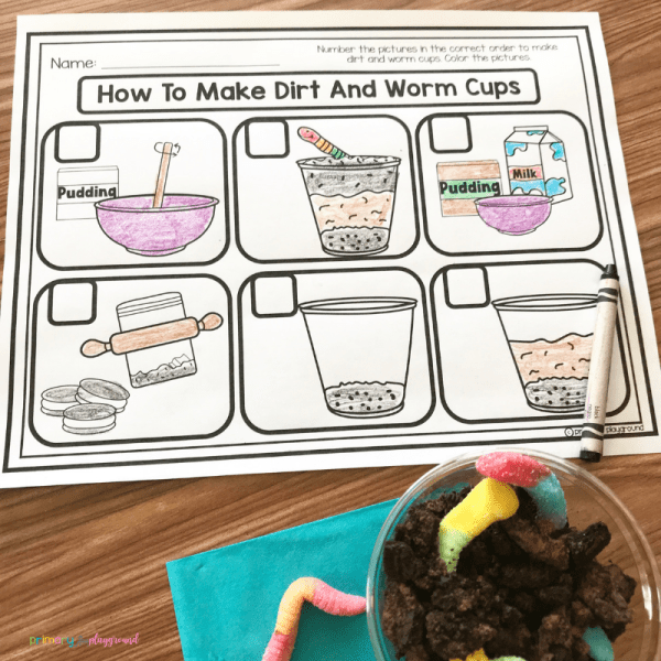 dirt and worms snack free printable