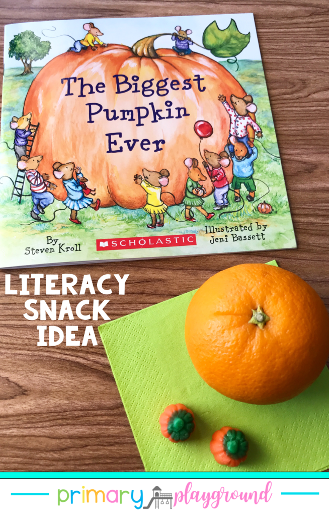 Literacy Snack Idea Pumpkin + Free Printable