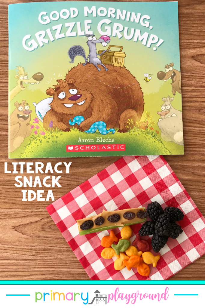 Grab our FREE printable and see our snack idea to use with Good Morning Grizzle Grump! It's a great Literacy Snack Spring Read-Aloud addition to your spring book collection.