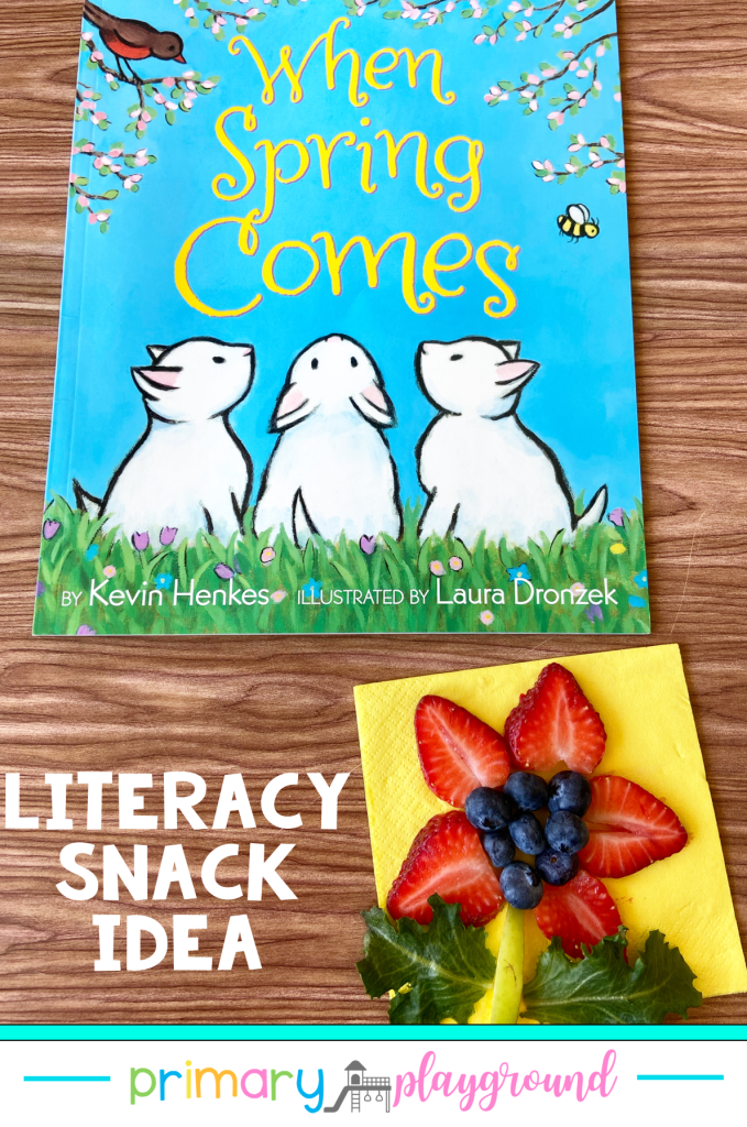Grab our FREE printable and see our snack idea to use with When Spring Comes. It's a great Literacy Snack Spring Read-Aloud addition to your book.collection.