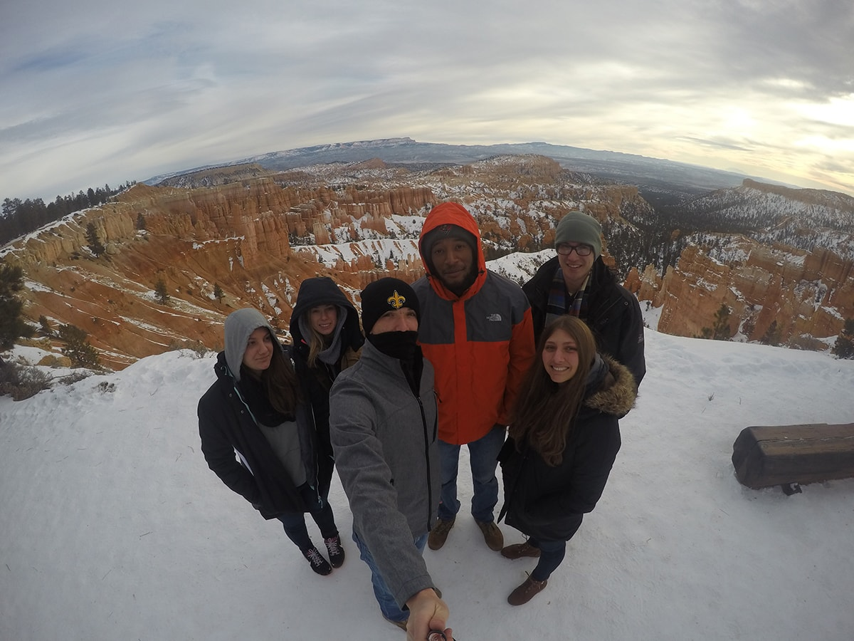 Group stands in Bryce Canyon National Park in Utah