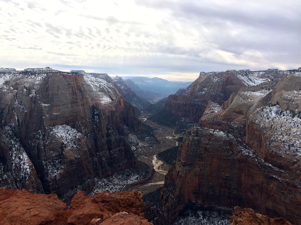 The vista view from on top of Observation Point in Zion National Park