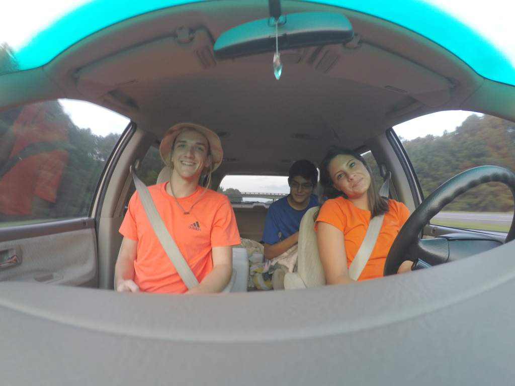 Three people in car driving to the great smoky mountains