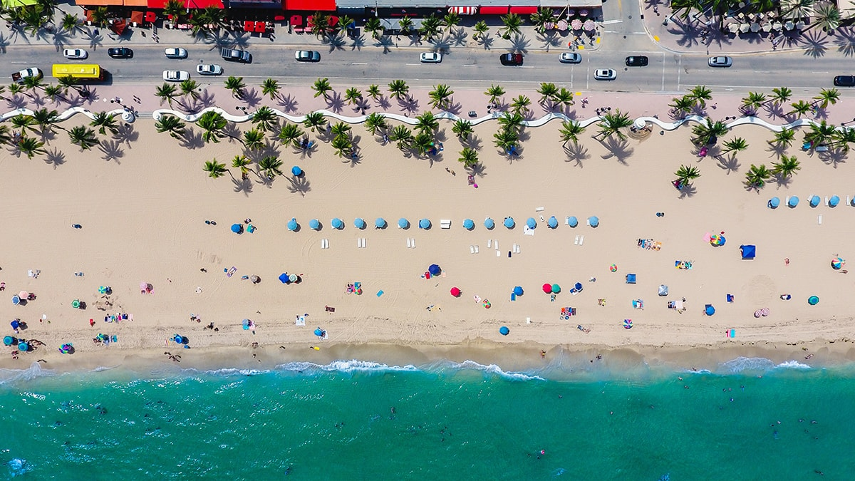 aerial view of South Beach Miami Florida